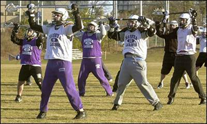 High School lacrosse team warming up